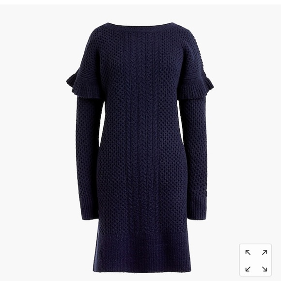 f180a88ab35 NWT J. Crew cable knit ruffle sleeve sweater dress
